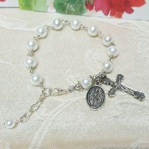 White Pearl Rosary Bracelet